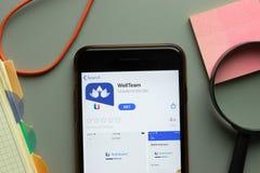 New York, USA - 26 October 2020: WellTeam mobile app logo on phone screen close up, Illustrative Editorial