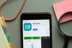 New York, USA - 26 October 2020: XME Salute mobile app logo on phone screen close up, Illustrative Editorial