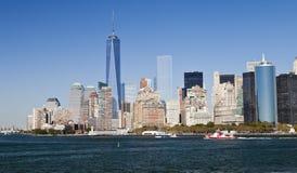 New York, USA - Panorama und ein World Trade Center Stockfotografie