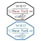New York, USA passport stamps. Arrival by plane. With date. Vector illustration isolated on white background Stock Photography