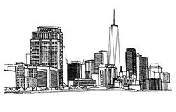 New York, USA. Scene street illustration. Hand drawn ink line sketch New York city, Manhattan with buildings,office, skyscrapers  in outline style perspective Stock Photos