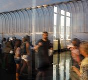 Observation deck of the Empire State Building. NEW YORK, USA - Sep 17, 2017: Abstract image of lights, shadows and reflections on the observation deck of the stock photo