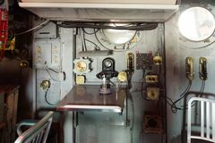 Intrepid Sea, Air and Space Museum, New York. NEW YORK, USA - SEP 25, 2015: Cabin of the USS Intrepid (The Fighting I), one of 24 Essex-class aircraft carriers Royalty Free Stock Photography