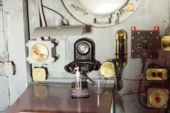 Intrepid Sea, Air and Space Museum, New York. NEW YORK, USA - SEP 25, 2015: Cabin of the USS Intrepid (The Fighting I), one of 24 Essex-class aircraft carriers Royalty Free Stock Images