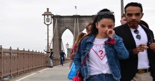 New York, USA - September 28, 2018: Brooklyn Bridge timelaps view. Tourists walking on bridge. New York City, USA stock footage