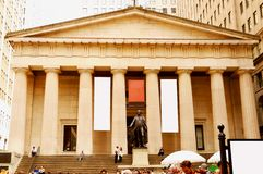 New York, USA - September 2, 2018: Facade of the Federal Hall with Washington Statue on the front, Manhattan, New York City.  royalty free stock images