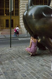 NEW YORK - USA September 12  2016 - The famous charging bull Royalty Free Stock Photos
