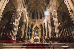 Interior of Saint Patrick`s Cathedral in New York City royalty free stock photo
