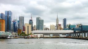 Manhattan Cityscape along the Hudson River waterfront between Pier 76 and 79. New York, USA - 28 September, 2016: Manhattan Cityscape along the Hudson River Stock Image