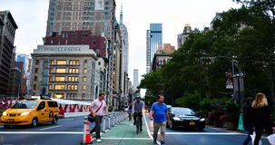 NEW YORK, USA - September 28, 2018: Manhattan - 5th Avenue at Washington Square Park with street view with busy traffic stock footage
