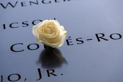 Names and a rose at the 9/11 Memorials. NEW YORK, USA - September 29, 2017: Names of the victims and a white rose at the National September 11 Memorial, in New Stock Photography