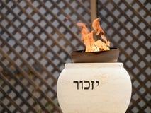 Memorial flame burning at memorial ceremony. TZUR SHALOM CEMETERY, ISRAEL - MAY 1, 2017. Memorial flame burning at memorial ceremony on Memorial Day for the stock photo