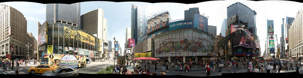 NEW YORK, USA - September 2013: Panoramic 360 degree view of Times Square. A full 360 degree view of Times Square in New York City during the day stock images