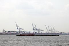 New York, USA - September 2, 2018: Sea port with cranes and docks early in the morning royalty free stock images