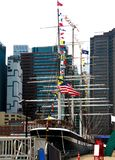 New York, USA - September 2, 2018: South Street Seaport and Pier 17 in Lower Manhattan. The area includes modern tourist malls. Featuring food, shopping and stock photo