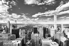 View of Manhattan from the skyscraper`s observation deck. New Yo stock image
