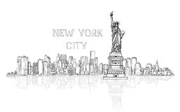 New York, USA skyline background. City silhouette engraving with. Liberty monument. American landmarks. Urban architectural landscape. Cityscape with famous stock illustration