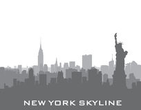 New York, USA skyline background. City silhouette with Liberty statue Royalty Free Stock Photography
