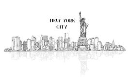 New York, USA skyline sketch city silhouette with Liberty monume Stock Images