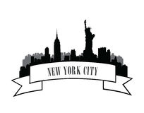 New York, USA skyline sketch. NYC city silhouette with Liberty m Stock Photos