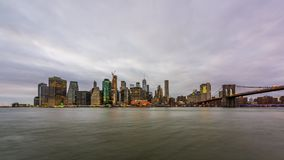 Lower Manhattan Skyline from The East River stock video footage