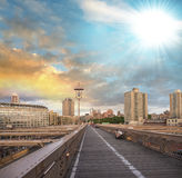 New York, USA. Southern side of Brooklyn Bridge as seen at sunse Stock Photos