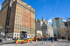 New York, USA. Street view, buildings and life around Battery Park. Stock Images