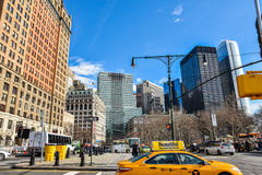 New York, USA. Street view, buildings and life around Battery Park. Royalty Free Stock Photos
