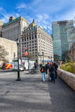 New York, USA. Street view, buildings and life around Battery Park. Stock Photography