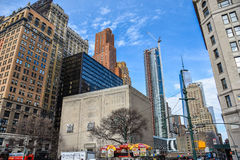 New York, USA. Street view, buildings and life around Battery Park. Royalty Free Stock Images