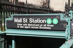 New York, USA - Subway entrance in Lower Manhattan at Broadway Royalty Free Stock Photos