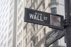 NEW YORK - USA wall street stock exchange sign. NEW YORK - USA - 11 JUNE 2015 wall street sign Stock Images