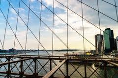New York van de Brug van Brooklyn Stock Fotografie