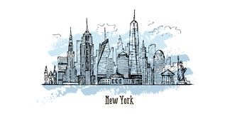 New York vector drawing, hand drawn illustration, sketch style vector illustration