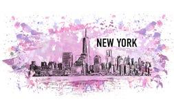 New York, vectortekening in kleurrijke grunge en waterverfvorm vector illustratie