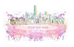 New York, vectortekening met grungebanner op waterverfachtergrond Royalty-vrije Stock Fotografie