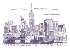New York vektorteckning vektor illustrationer
