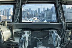 NEW YORK view from airplane cockpit Royalty Free Stock Images