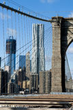 NEW YORK A view from brooklyn bridge. On sky background stock image