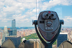 New York: view of Manhattan skyline, Central Park and Top of the Rock binocular on September 16, 2014 Stock Photo