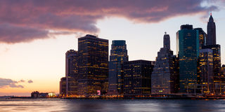 New York - Manhattan Skyline by night Stock Photography