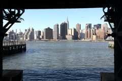 New York- view to Manhattan from Long Island Royalty Free Stock Image
