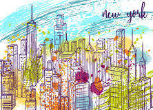 New York. Vintage colorful hand drawn city landscape and splashes in watercolor style. Stock Photo
