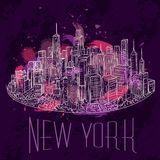 New York. Vintage colorful hand drawn night city landscape. Vector illustration. In line art style Stock Image