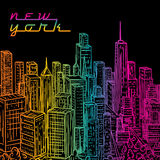 New York. Vintage colorful hand drawn night city landscape. Vector illustration Stock Photo