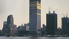 World Trade Center. New York vintage footage on 1970 about lower Manhattan construction site of World Trade Center and Twin Towers under construction on seventy stock video