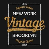 New York vintage graphic for t-shirt. Brooklyn original clothes design with grunge. Authentic apparel typography. Vector. New York vintage graphic for t-shirt Royalty Free Stock Images