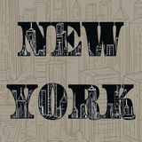 New York. Vintage hand drawn city landscape. Vector illustration Royalty Free Stock Image
