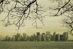 New York Vintage Skyline. A view of New York skyline from Liberty Island Royalty Free Stock Photos