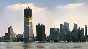New York vintage Twin Towers skyline. New York vintage cinemagraph about 1970 construction site of Twin Towers. New York skyline from New Jersey side with World stock video